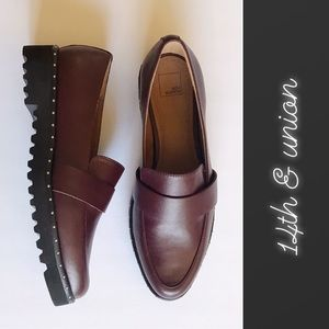 14th & Union Burgundy Faux Leather Loafers NWOB